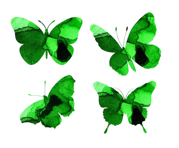 Ilustrações em aquarela de belas silhuetas verdes de borboletas. armadilhas de insetos. manchas de aquarela, borboletas. isolado no branco. desenhado à mão.