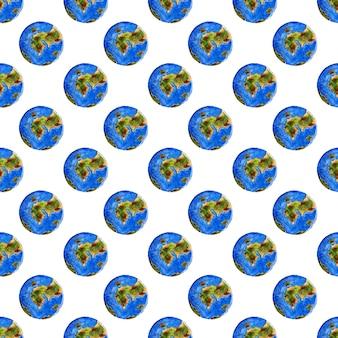 Ilustrações em aquarela de corpos celestes planeta azul padrão da terra fundo de repetição sem emenda