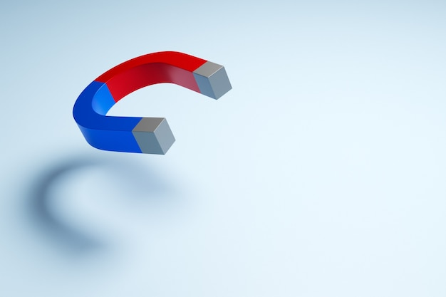 Ímã clássico de ilustração 3d com pontas vermelhas e azuis na forma de uma ferradura voando no ar em um fundo branco isolado