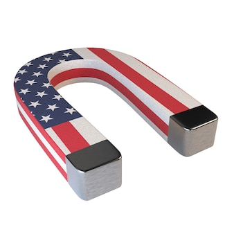 Ímã em ferradura e bandeira americana isolado no fundo branco.