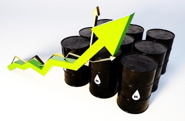 Imagem 3d de barris de petróleo com crescimento do gráfico