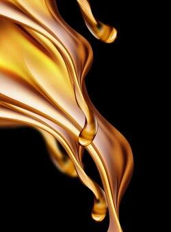 Imagem 3d de respingos de óleo em um fundo escuro