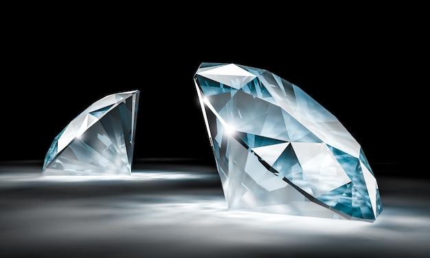Imagem 3d de um par de diamantes no preto