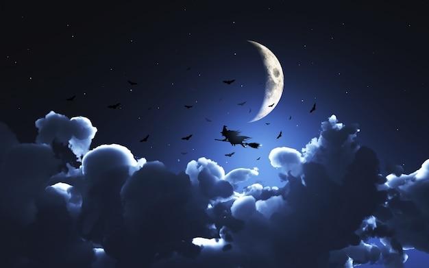Imagem 3d de uma bruxa voando sobre a lua acima das nuvens