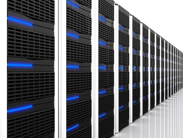 Imagem 3d do datacenter com muitos servidores