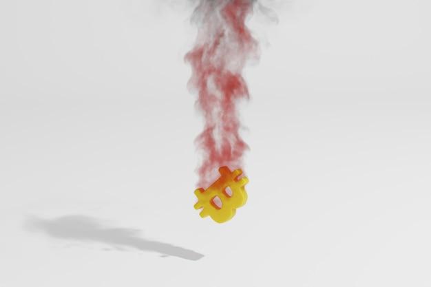 Imagem 3d do símbolo bitcoin com chamas e fumaça no fundo branco. conceito de status de criptomoeda.