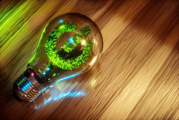 Imagem 3d gerada por computador do conceito de energia limpa