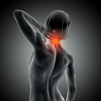 Imagem 3d médica com fêmea segurando o pescoço com dor