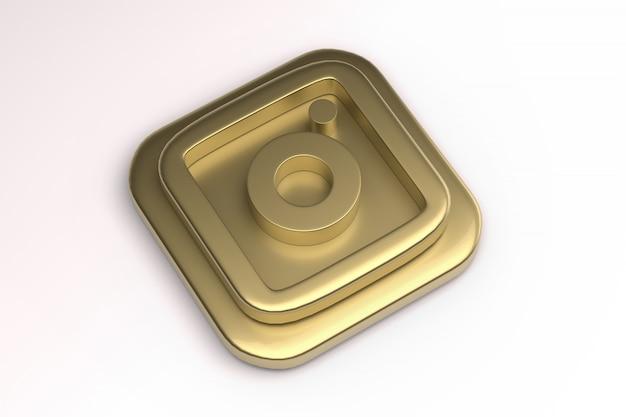 Imagem 3d ouro render do logotipo do instagram