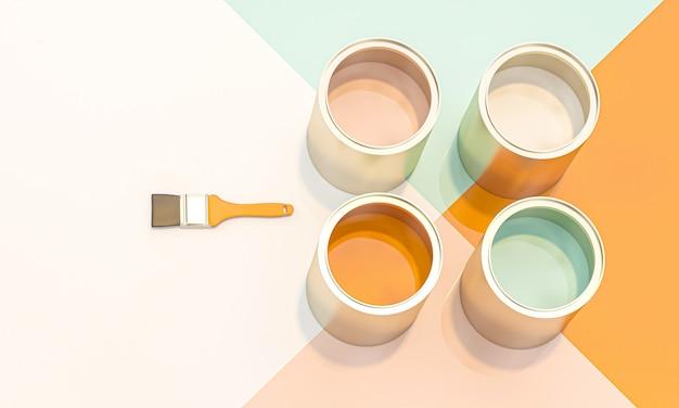 Imagem 3d rende de uma série de carro aberto que contém cores diferentes