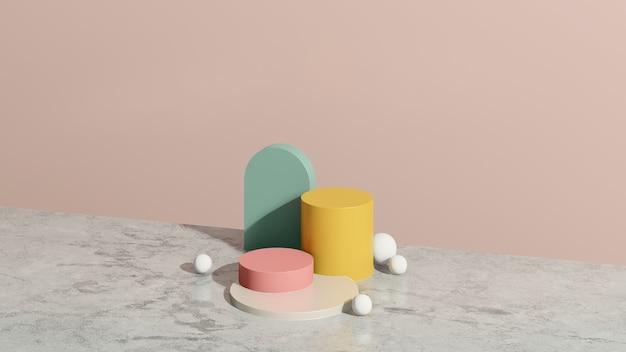 Imagem 3d render branco e rosa pódio com fundo rosa anúncio de exibição de produto