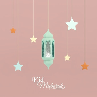 Imagem 3d render cartão estilo islâmico para eid mubarak eid aladha com estrelas azuis da lâmpada árabe e frase eid mubarak