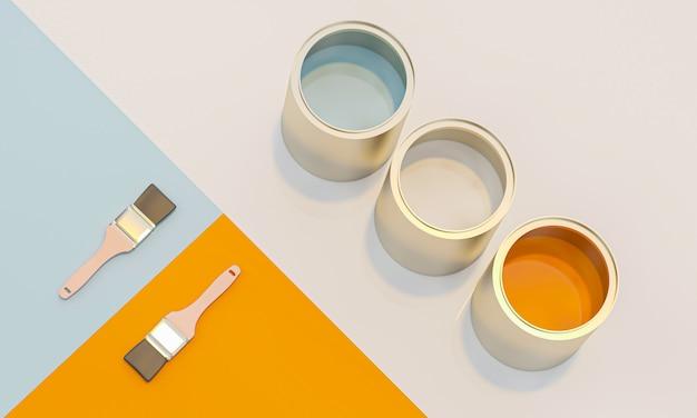Imagem 3d render de latas de cor e pincel em geométrica