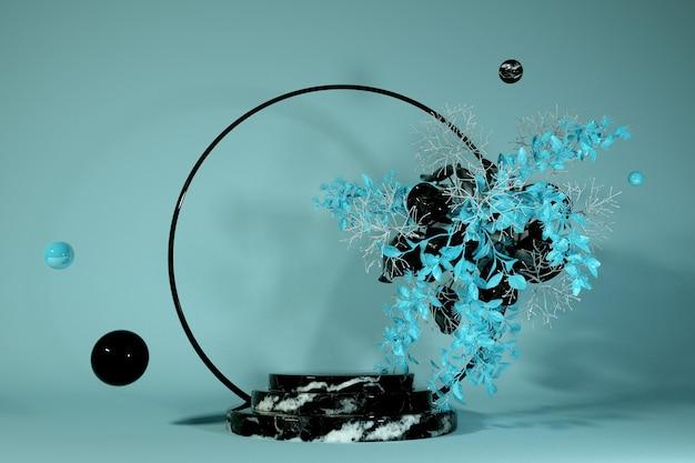 Imagem 3d render do pódio de mármore preto fundo azul pastel de luxo para cosméticos ou outro produto com decoração de flores abstratas e arco redondo