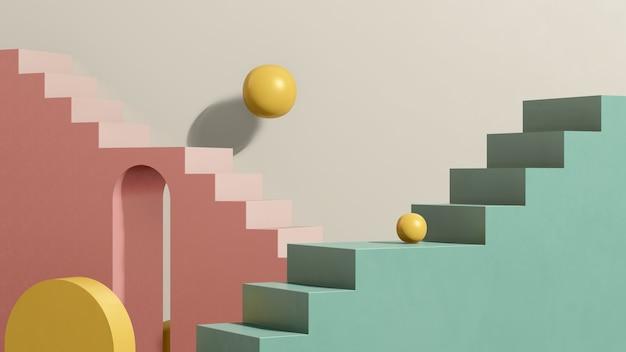 Imagem 3d render pódio de escada verde rosa com fundo branco anúncio de exibição de produto