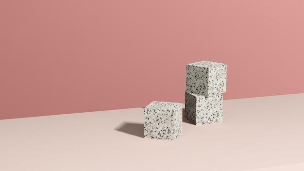 Imagem 3d render pódio de mármore com fundo rosa anúncio de exibição de produto