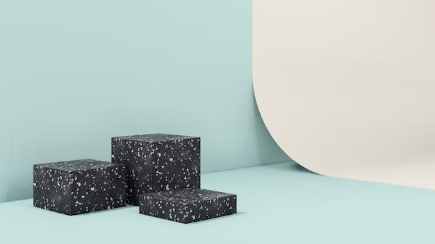 Imagem 3d render pódio de textura de mármore com parede azul claro e fundo de papel amarelo claro para profissional