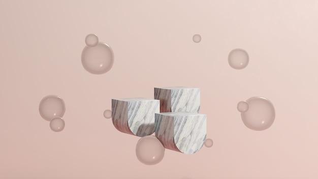 Imagem 3d render pódio flutuante de mármore com fundo rosa anúncio de exibição de produto