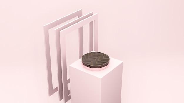 Imagem 3d render visão em perspectiva do olho de pássaro pódio de textura de madeira marrom com fundo rosa claro