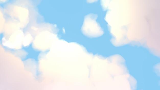 Imagem 3d rendere do fundo do céu azul dos desenhos animados