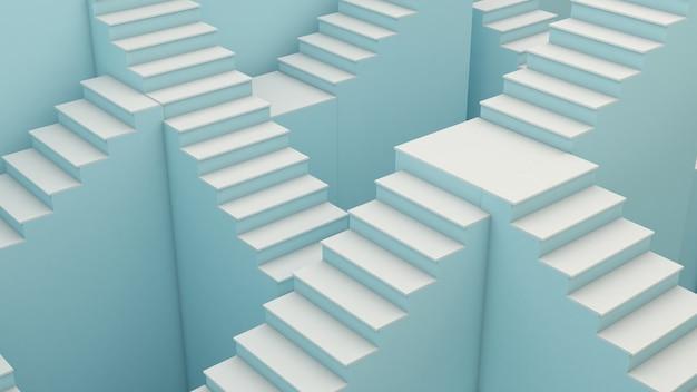 Imagem abstrata de muitos corredores de escadas ou várias escadas que transmitem histórias de viagens e escolhas