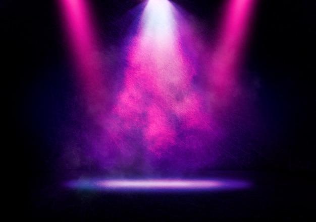 Imagem abstrata de uma luz de discoteca em um fundo de palco