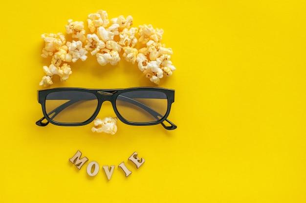 Imagem abstrata do visualizador, óculos 3d e pipoca