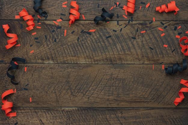 Imagem aérea da opinião de tampo da mesa do conceito feliz do fundo do dia de dia das bruxas da decoração.