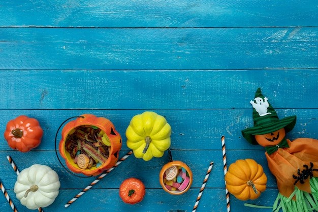 Imagem aérea de tabela vista superior da decoração feliz dia das bruxas dia plano de fundo
