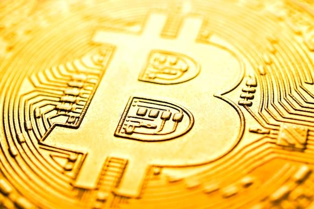 Imagem aproximada de bitcoin de criptomoeda virtual