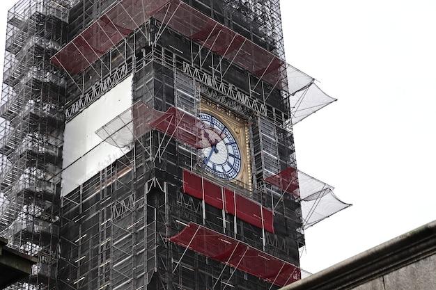 Imagem aproximada de uma torre do relógio no meio da cidade