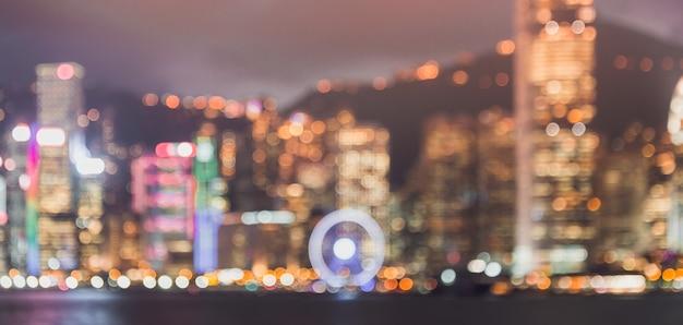Imagem borrada de fundo da paisagem urbana de hong kong