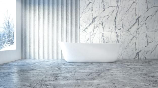 Imagem branca moderna da rendição do banheiro 3d. há parede e piso de azulejo de concreto.