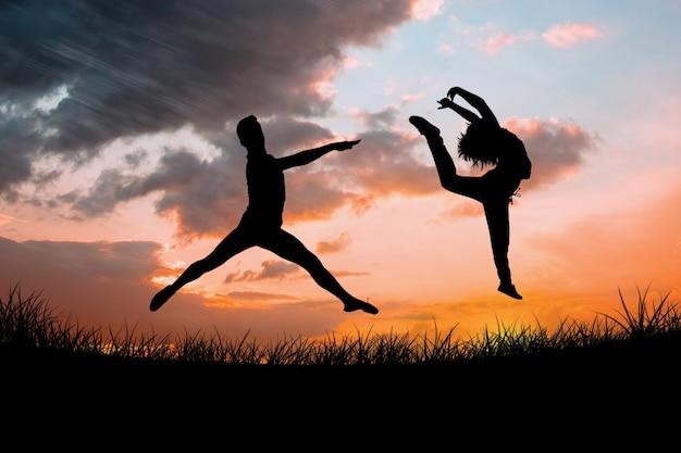 Imagem composta de dançarino de balé pulando