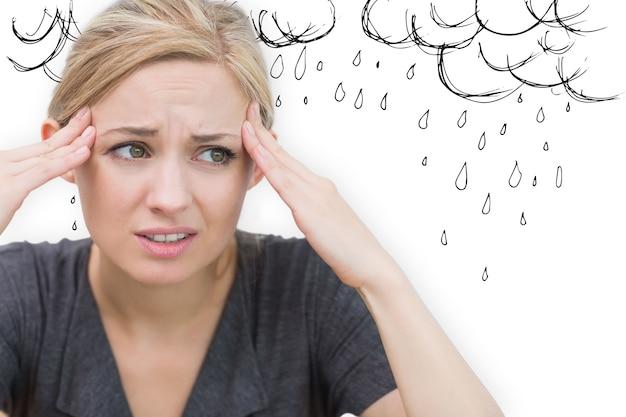 Imagem composta de mulher com dor de cabeça
