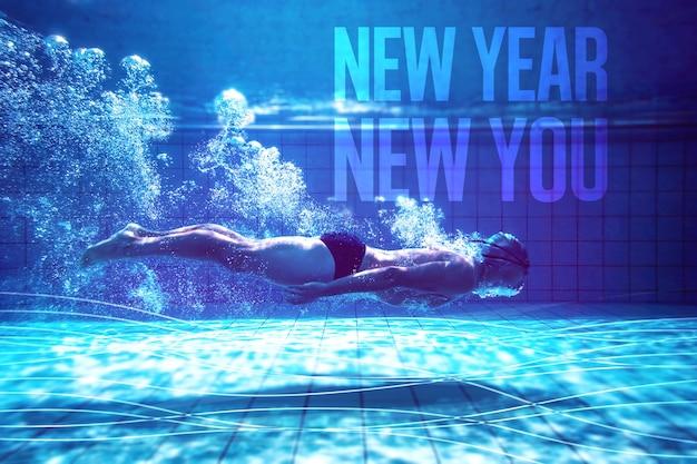 Imagem composta de nadador treinando sozinho