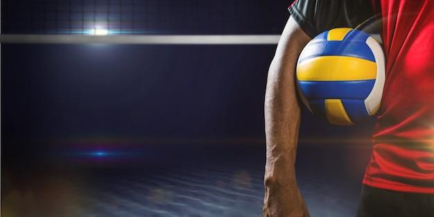 Imagem composta do meio de um esportista segurando uma bola de vôlei