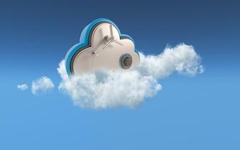 Imagem conceitual 3D de segurança no armazenamento em nuvem