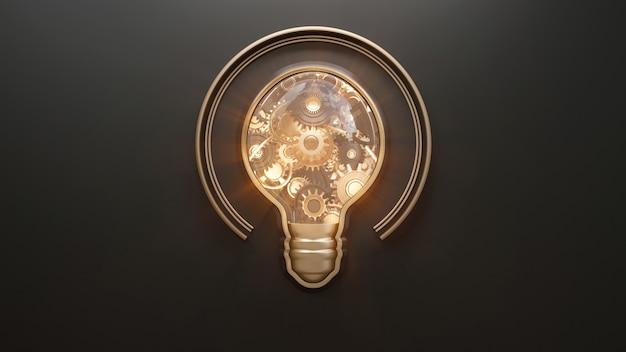 Imagem conceitual com lâmpada e engrenagens dentro
