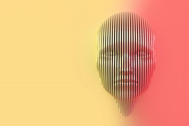 Imagem conceitual da cabeça feminina recortada na parede e saindo da parede. ilustração 3d