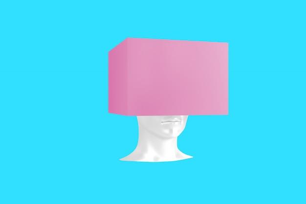 Imagem conceitual de uma cabeça feminina com um cubo em vez de um penteado