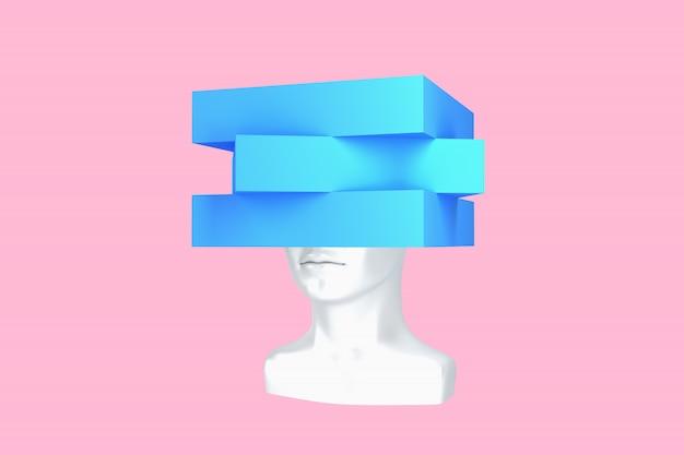 Imagem conceitual de uma cabeça feminina com um cubo em vez de uma ilustração 3d de penteado