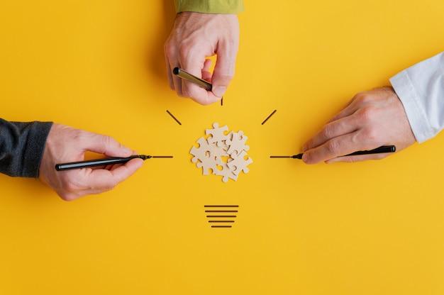 Imagem conceitual de visão e trabalho em equipe
