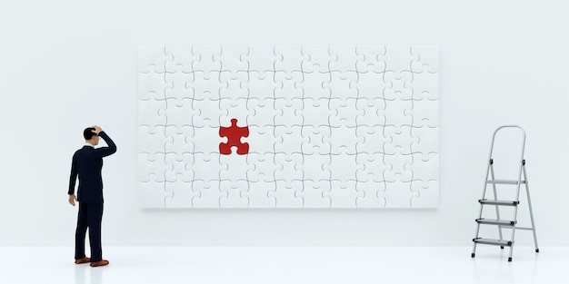 Imagem concluída de quebra-cabeças com uma peça errada. conceito de negócios, renderização em 3d