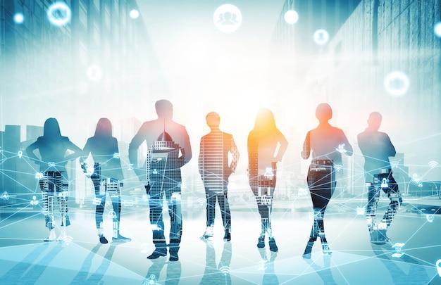 Imagem criativa de muitos executivos em reunião de grupo de conferência