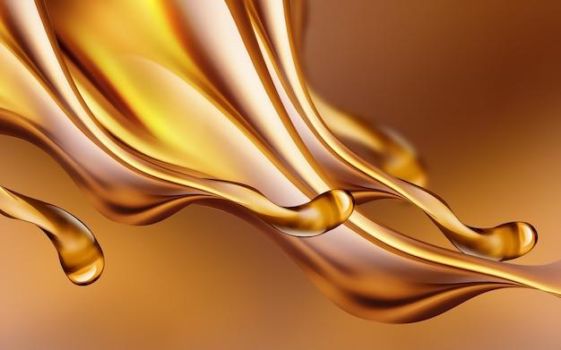 Imagem d de respingos de óleo em close-up em um fundo claro