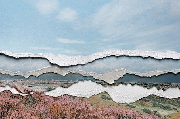 Imagem da natureza em papel rasgado