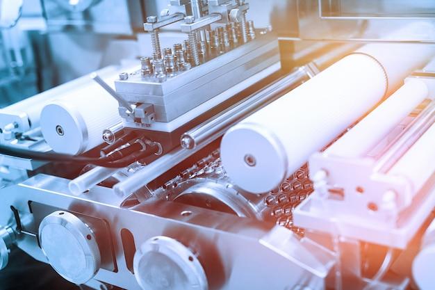 Imagem da planta, fabricação, máquinas de aço cromado