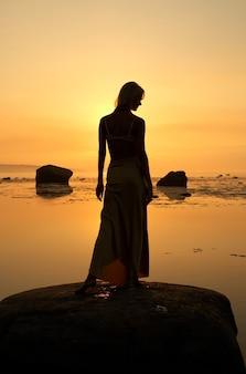 Imagem da silhueta de uma bela senhora à beira-mar