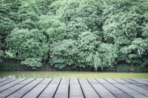 Imagem da tabela de madeira na frente das árvores verdes, conceitos da natureza.
